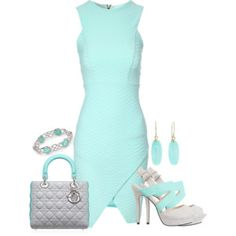 Fitted White and Powder Blue dress