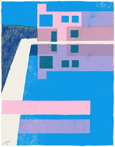 Tatsuro Kiuchi | Pink, blue and white abstract painting of a building.