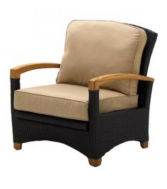 Plantation sectional reclining arm chair with teak arms