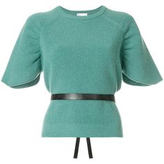 Red Valentino short sleeve knit top with belt (1.930 RON) ❤ liked on Polyvore featuring tops, green, short sleeve tops, red valentino top, knit top, short sleeve knit tops and red valentino