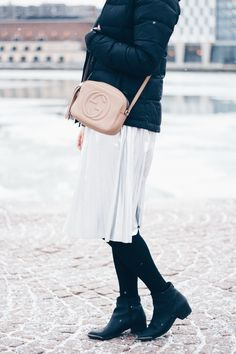 Silver skirt, Gucci Soho Disco bag