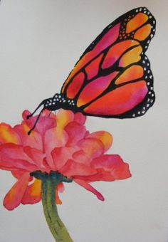 You Look Like Me-Original Watercolor of Butterfly and Zinnia Flower by yankeegirl at @thecraftstar  $85