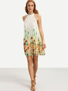 Vestido floral sin manga holgado-Sheinside