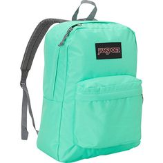JanSport Superbreak Backpack- Discontinued Colors - Seafoam Green... ($18) ❤ liked on Polyvore featuring bags, backpacks, green, padded backpack, jansport daypack, handle bag, green backpack and daypack bag
