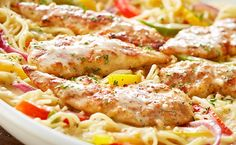 Scampi chicken breasts sauteed with bell peppers, roasted garlic and onions in a garlic cream sauce over angel hair pasta. Ingredients: 2 chicken breasts,