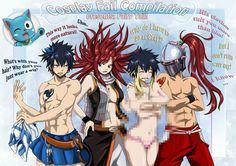 Fairytail Mages  Gray Erza Lucy Natsu Happy(cat)