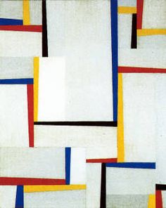 """Fritz Glarner (1899-1972) was a Swiss-American painter & a leading proponent of Concrete Art, based on principles of De Stijl and  the Bauhaus. He was a disciple of Mondrian & limited his color palette to the primaries, red, yellow & blue. He expanded Mondrian's black """"line"""" into a broad range of grays, used both as line and, like the primaries, as geometric areas of color. This give his works a vitality and spatial dimensions."""