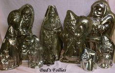 Old Antique Metal Chocolate Molds for sale and old antique Pewter Ice Cream Molds for sale