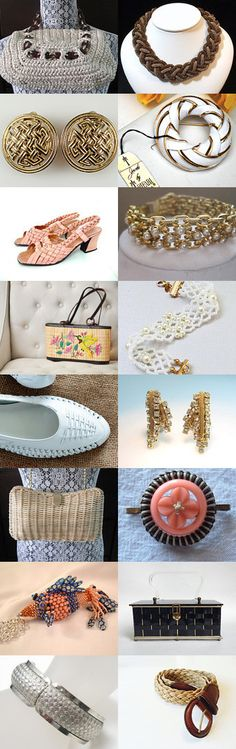 Weaving Our Way to Spring #voguet. Lovely woven and weave design vintage fashion accessories from the Vintage Vogue team, featuring our Shop of the Day, LunasVintageDesigns! Curator: Karen Marlette from https://www.etsy.com/shop/HauteVintageJewels
