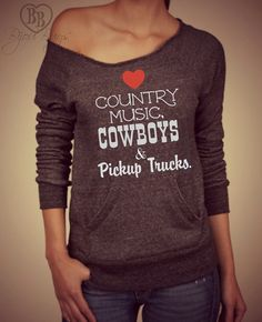 Country Love -- design on Wide neck fleece sweatshirt. Sizes S-XL. Other colors available. on Etsy, $40.00
