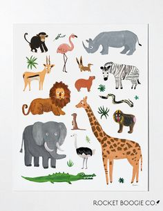 Wild & Free 🦁 This is an art print of a collection of safari animals hand painted by Rocket Boogie Co. These art prints are packaged in a clear sleeve with a rigid backing. Make sure to check out our Safari Animals Sticker Sheet here: Animal Throws, Indian Elephant, Animal Posters, Canvas Prints, Art Prints, Animal Prints, Jungle Animals, Tapestry Wall Hanging, Wall Tapestries