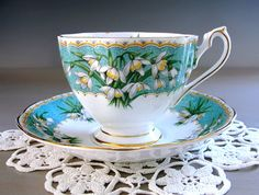 Queen Anne Tea Cup and Saucer, MARILYN,  Fancy Floral Teacup Set, Turquoise Blue with Crocus Flowers, Gold Gilt Trim, Made in…