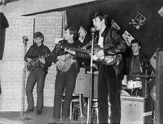 The Beatles play for an audience of only 18 people at the Aldershot Club, December 1961. With George, John, Paul and Pete.
