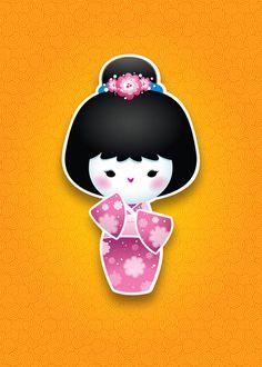 New Kawaii Kokeshi (Pink) by Jerrod Maruyama, via Flickr