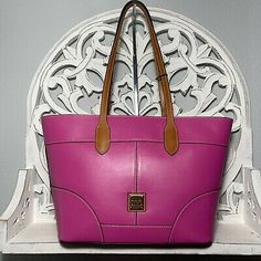 Dooney & Bourke Wexford Collection Tote Magenta Leather $298 | eBay Metallic Leather, Green Leather, Suede Leather, Leather Crossbody, Leather Handbags, Tassel Purse, Red Purses, Nylon Tote, Leather Handle