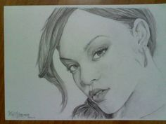Black and White drawing of Rihanna
