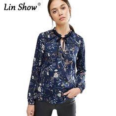 LINSHOW Floral Print Bow Women Blouses Elegant Loose Flowers Tops Belt Long Sleeve 2016 Autumn Vintage Ladies Shirts 2016 ב-                                                                                                                         מתוך חולצות & חולצות באתר AliExpress.com | Alibaba Group