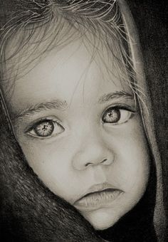 Charcoal Drawing Realistic Pencil Portrait Mastery - A baby girl portrait I did a while. Graphite, charcoal and white ink used. Discover The Secrets Of Drawing Realistic Pencil Portraits Cool Pencil Drawings, Amazing Drawings, Realistic Drawings, Art Drawings Sketches, Amazing Art, Horse Drawings, Drawings Of People, Animal Drawings, Pencil Portrait