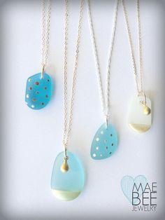 Handpainted #Seaglass Necklaces from JewelryByMaeBee on #Etsy. www.jewlerybymaebee.etsy.com