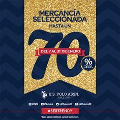 ¡Este 70% de descuento lo tienes que aprovechar! Promoción válida en mercancía seleccionada.   Aplica del 7 al 31 de enero en las sucursales de: México D.F., Mexicali, Tijuana, Ensenada, Hermosillo, Los Mochis, Culiacán, León, Villahermosa, Tlalnepantla.   #SerTrendy #UsPolo #2016