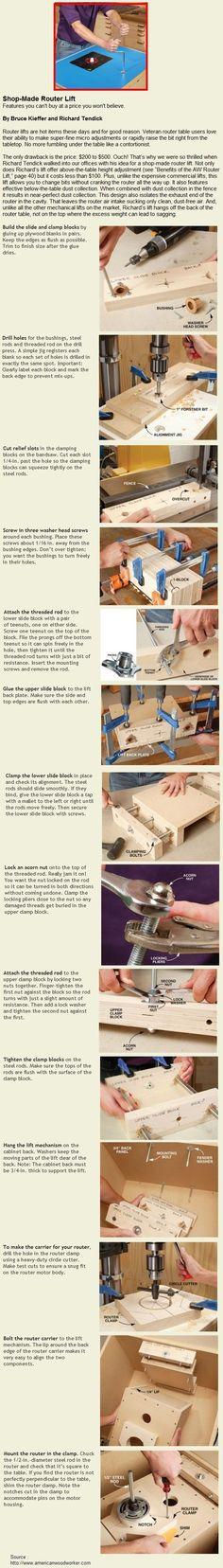 Shop-Made Router Lift | WoodworkerZ.com