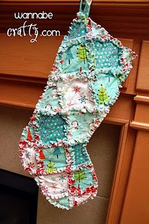 Rag quilt stocking -- Super simple -- I did put a piece of white muslin on the top to put a name on it -- other than that it's the only change I made.  Fun to make!!!!