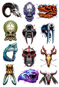 Savage Skulls Temporary Tattoo Set