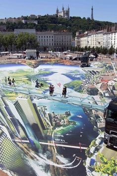 French artist Francois Abelanet has created huge works that trick the mind into thinking you're thousands of feet up.   Giant 3-D Street Art Will Make You Feel A Little Weak At The Knees
