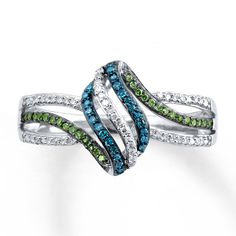 Kay - Blue/Green Diamonds 1/5 ct tw Ring Sterling Silver
