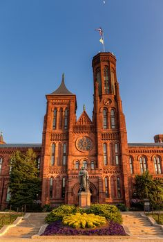 The Smithsonian Castle at sunset.