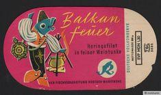 fischkonserven ddr  | Etikett Heringsfilet VEB Fischverarbeitung Rostock Marienehe DDR 1960 ...