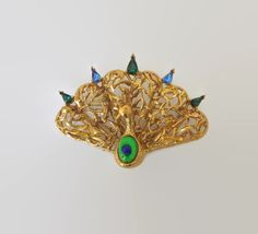 Vintage Peacock Brooch Dalsheim Designer Signed by baublology