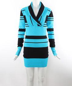 Blue & Black Stripe Shawl Neck Sweater by 3R Street Wear #zulily #zulilyfinds