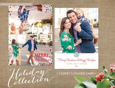 Folded Christmas Card / 7x5 Folded / Photo Holiday Cards / Confetti / Bright Colors / Dots / Merry Christmas & Happy New Year / Multiple Photos / by AnnaHatcherDesign on Etsy