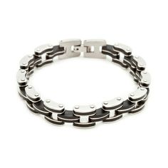 He will love this! Black rubber and stainless steel links come together in this stylish Ryan bracelet. With its modern look and excellent design you are definitely sure to catch attention.  Find it on Splendor Designs