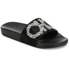 Salvatore Ferragamo Groove Crystal-Embellished Logo Slides ($545) ❤ liked on Polyvore featuring shoes, sandals, apparel & accessories, open toe shoes, slip-on shoes, swarovski crystal shoes, swarovski crystal sandals and salvatore ferragamo shoes