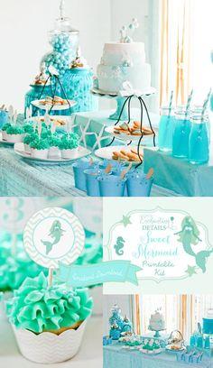 Mermaid Printable Birthday Party Kit & Invitation Instant Download- DIY/Customize Editable in Adobe