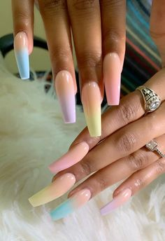 "If you're unfamiliar with nail trends and you hear the words ""coffin nails,"" what comes to mind? It's not nails with coffins drawn on them. It's long nails with a square tip, and the look has. Gorgeous Nails, Love Nails, Fun Nails, How To Do Nails, Prom Nails, Acrylic Nail Designs, Nail Art Designs, Acrylic Nails, Matte Nails"