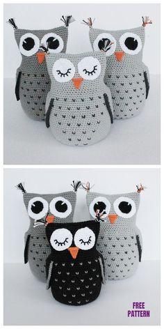 Crochet Heart Stitch Owl Amigurumi Free Patterns - Home & DIY Crochet Amigurumi Free Patterns, Crochet Animal Patterns, Stuffed Animal Patterns, Crochet Dolls, Stuffed Animals, Free Crochet, Knitting Patterns, Crochet Owl Pillows, Crochet Owl Basket