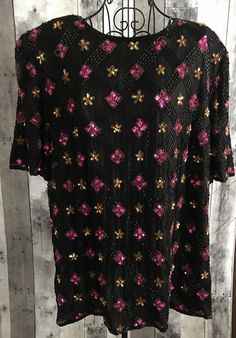 Vintage Stenay Sequin Beaded 100% Silk Top Blouse Black Pink Plus Size 3X #Stenay #Top