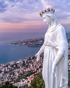 The Our Lady of Lebanon statue, which looms over Harissa on the west coast. The small town. Blessed Mother Mary, Kirchen, Aerial Photography, Travel Photography, Heaven On Earth, Pilgrimage, Our Lady, Middle East, Culture