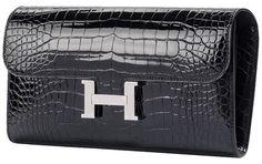 61aa0777f571 Black Constance Shiny Alligator Long Wallet. Tradesy. Hermes ClutchHermes  ...