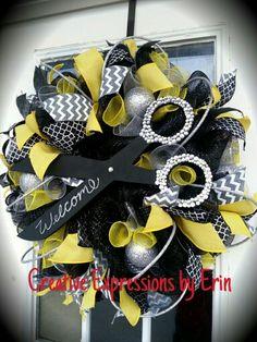 Salon wreath - $85 Facebook.com/CreativeExpressionsByErin