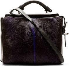 3.1 Phillip Lim - Purple Fur Ryder Small Satchel | SSENSE