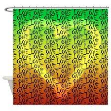 Rasta One Love Heart Shower Curtain