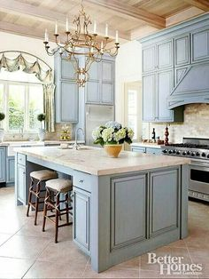 Love the blue cabinets