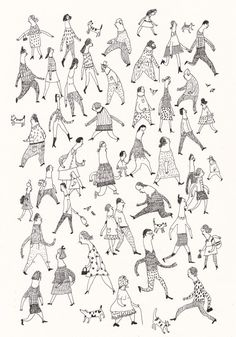 Street Life / ORIGINAL pen ILLUSTRATION / Crowed of people / Dogs / Men / Women/ Walking around / Working / B&W / Caricature on Etsy, $55.00
