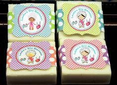 Set of 10 Spa Girl Party Favors Custom Shea Butter Soap Bars Glamour Makeup Spa Sleepover Kids Party Favor