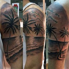 Beautiful beach tattoo on the arm. If you want the wonderfully tall palm trees as a beach tattoo, which better place to put it than on the arm? The design makes use of the elongated space and frames the design with the shore and the skies encircling the palm trees.