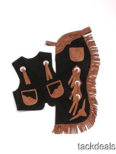 New-Kids-Western-Cowboy-Vest-Chaps-Set-Costume-Real-Suede-Leather-Small-Size